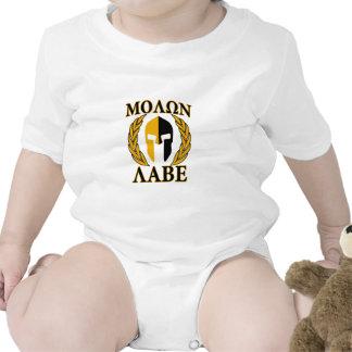 Molon Labe Spartan Helmet Laurels Gold Bodysuit