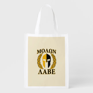Molon Labe Spartan Helmet Laurels Gold Grocery Bag