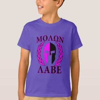 Molon Labe Spartan Helmet Laurels Hot Pink T-Shirt