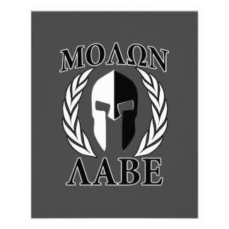 """Molon Labe Spartan Helmet Laurels Monochrome 4.5"""" X 5.6"""" Flyer"""