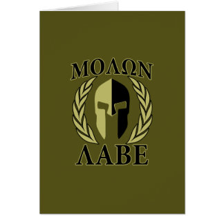 Molon Labe Spartan Helmet Laurels Olive Green Card