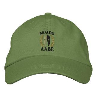 Molon Labe Spartan Helmet Laurels Olive Green Embroidered Hats