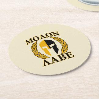 Molon Labe Spartan Helmet Laurels Tri-Color Round Paper Coaster