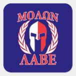 Molon Labe Spartan Helmet Laurels Tri-Color Square Sticker