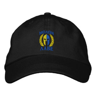 Molon Labe Spartan Helmet Laurels True Yellow Blue Embroidered Baseball Cap