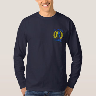 Molon Labe Spartan Helmet Laurels True Yellow Blue Embroidered Long Sleeve T-Shirt