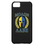 Molon Labe Spartan Helmet Laurels Yellow Blue iPhone 5C Covers