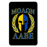 Molon Labe Spartan Helmet Laurels Yellow Blue Rectangular Photo Magnet