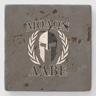 Molon Labe Spartan Helmet Warrior Laurels Graphic Stone Coaster
