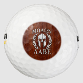 Molon Labe Spartan in Chrome Mahogany Style Pack Of Golf Balls