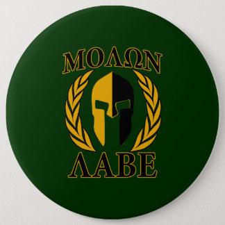 Molon Labe Spartan Laurels Forest Green Decor Pinback Button