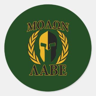 Molon Labe Spartan Laurels on Forest Green Classic Round Sticker