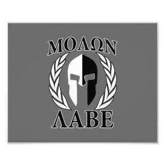 Molon Labe Spartan Mask Armor Laurels Monochrome Photo Print