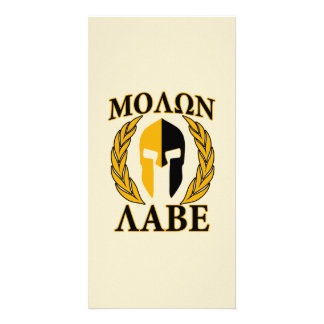 Molon Labe Spartan Mask Laurels Beige Accent Card