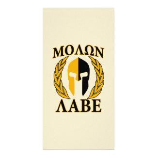 Molon Labe Spartan Mask Laurels Beige Accent Card