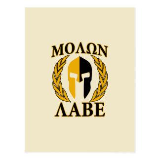 Molon Labe Spartan Mask Laurels Beige Accent Postcard