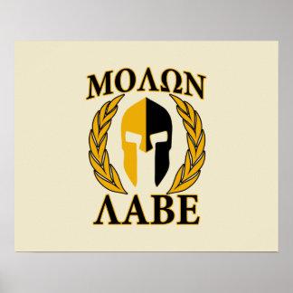 Molon Labe Spartan Mask Laurels Beige Accent Poster