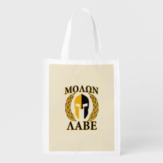 Molon Labe Spartan Mask Laurels Beige Accent Reusable Grocery Bag