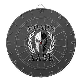 Molon Labe Spartan Mask Laurels Black & White Dart Board