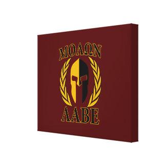 Molon Labe Spartan Mask Laurels Burgundy Canvas Print