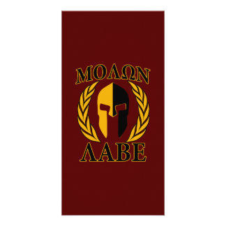 Molon Labe Spartan Mask Laurels Burgundy Card
