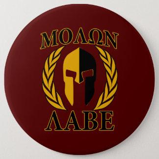 Molon Labe Spartan Mask Laurels Burgundy Pinback Button