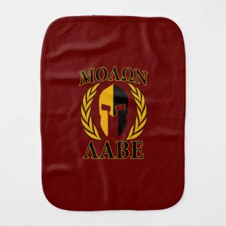 Molon Labe Spartan Mask Laurels Burgundy Red Baby Burp Cloth