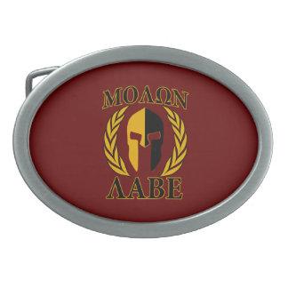 Molon Labe Spartan Mask Laurels Burgundy Red Belt Buckle