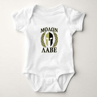 Molon Labe Spartan Mask Laurels Olive Green Baby Bodysuit