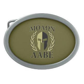 Molon Labe Spartan Mask Laurels Olive Green Belt Buckle
