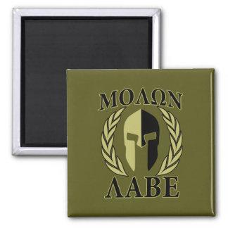 Molon Labe Spartan Mask Laurels Olive Green Magnet
