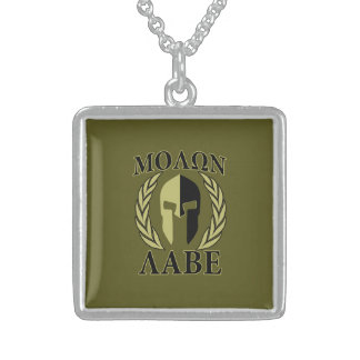 Molon Labe Spartan Mask Laurels Olive Green Sterling Silver Necklace