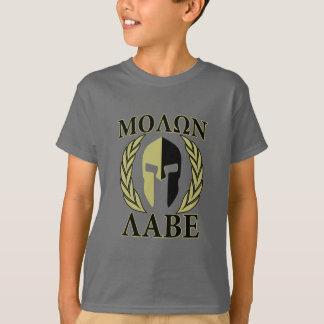 Molon Labe Spartan Mask Laurels Olive Green T-Shirt