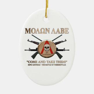 Molon Labe - Spartan Shield Ceramic Ornament