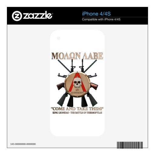 Molon Labe - Spartan Shield iPhone 4S Decal