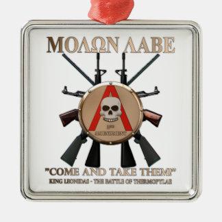 Molon Labe - Spartan Shield Metal Ornament