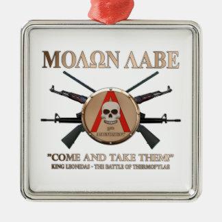 Molon Labe - Spartan Shield Square Metal Christmas Ornament
