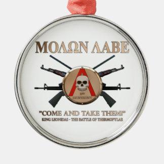 Molon Labe - Spartan Shield Round Metal Christmas Ornament
