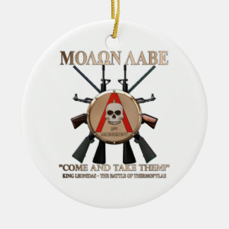 Molon Labe - Spartan Shield Double-Sided Ceramic Round Christmas Ornament