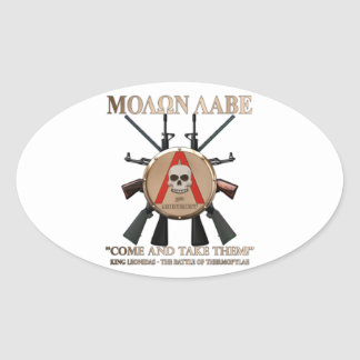 Molon Labe - Spartan Shield Oval Sticker