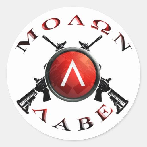 molon labe spartan shield round stickers