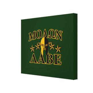 Molon Labe Spartan Warrior 5 stars green Canvas Print