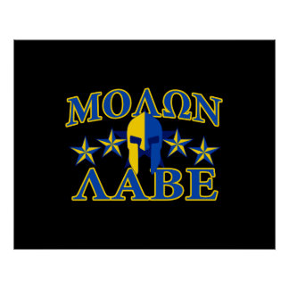 Molon Labe Spartan Warrior 5 stars Yellow Blue Poster