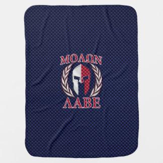 Molon Labe Spartan Warrior Blue Carbon Fiber Print Baby Blanket