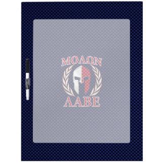Molon Labe Spartan Warrior Blue Carbon Fiber Print Dry Erase Board