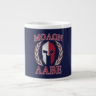 Molon Labe Spartan Warrior Blue Carbon Fiber Print Large Coffee Mug