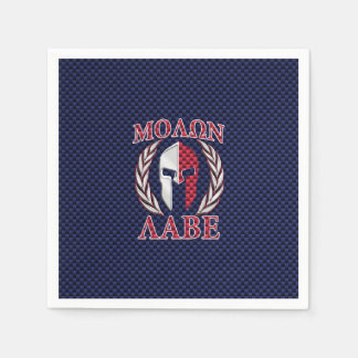 Molon Labe Spartan Warrior Carbon Fiber Chrome Paper Napkin