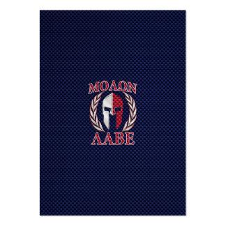 Molon Labe Spartan Warrior Carbon Fiber Print Large Business Card