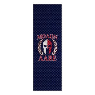 Molon Labe Spartan Warrior Carbon Fiber Print Mini Business Card