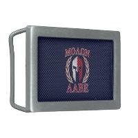 Molon Labe Spartan Warrior Carbon Fiber Print Rectangular Belt Buckle